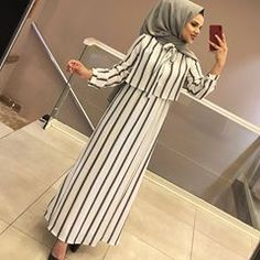 b dress # shirt # hijab Hijab Style Dress, Casual Hijab Outfit, Hijab Chic, Islamic Fashion, Muslim Fashion, Modest Fashion, Fashion Dresses, Fashion Clothes, Modest Dresses