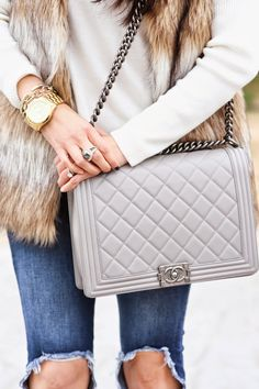 Gray Chanel Boy Bag + faux fur