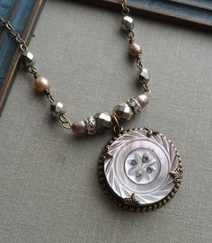 """Notice how the """"button pendant"""" is suspended from six bead connector--Taupe Spring, Antique Mother of Pearl Button Necklace with Freshwater Pearls"""