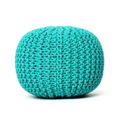 Knitted Pouf Blue