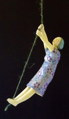 purple - woman - figurative ceramic - Elizabeth Price