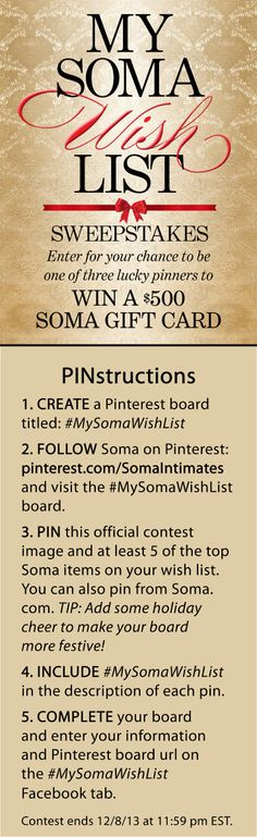 #MySomaWishList – Pin your way to WIN 1 of 3 $500 Soma gift cards! #SomaIntimates