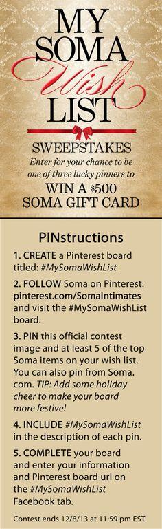 #MySomaWishList – Pin your way to WIN 1 of 3 $500 Soma gift cards! #SomaIntimates  #MySomaWishList