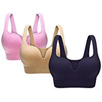 Womens Yoga Sports Bra Wire-free Seamless Padded Push Up Top Pack of 3 -- You can get additional details at the image link.