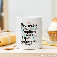 """Taza """"You are a great mother and a super grandmother"""" #mug #mrwonderfulshop #english #mother"""