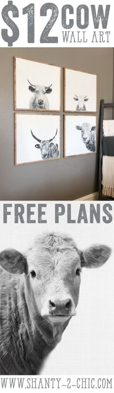$12 DIY Cow Wall Art with just a few simple steps! Create your own with any image you would like. Free plans and how-to video at www.shanty-2-chic.com