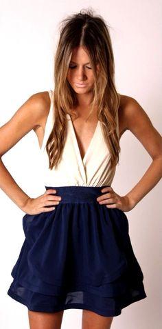 V-neck with navy chiffon skirt