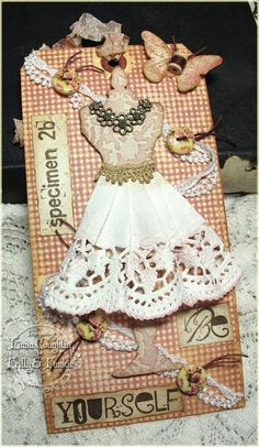 Frilly and Funkie: Friday Focus - Buttons, Buttons, Buttons! Tim Holtz Dress Form Die