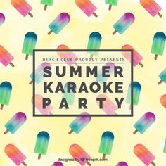 Summer karaoke party poster Free Vector
