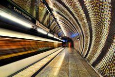Szent Gellért Square, on the new 4th subway Budapest. Hungary.