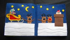 Quiet Book: Santa and his reindeer --  Santa can move around the page and you can take the presents out of his sleigh.