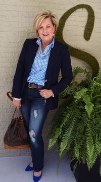 Fashion for women over 40 Jeans and Pearls. Fall fashion outfit. Perfect for women over 40, 50, and older!