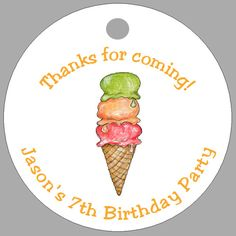 ICE CREAM CONE * 20 Personalized Favor Tags * BIRTHDAY | eBay