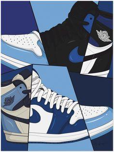 AIR JORDAN 1 BLUE HUES FINE ART PRINT - 60x80 cm / 24x32″
