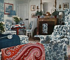 Pauline Rothschild's Chateau Mouton. Madame Serreulles blue and white paradise in Neuilly-sous-clermont. Image Vogue's Book of Houses, Gardens, People- by Horst 1966