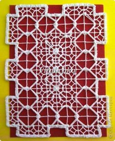 Drawn Thread, Thread Work, Needle Lace, Bobbin Lace, Red Malla, Diy And Crafts, Arts And Crafts, Teneriffe, Mesh Netting