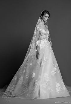 georges hobeika spring 2019 bridal cap sleeves v neck full embellishment princess elegant a line wedding dress chapel train (3) mv -- Georges Hobeika Spring 2019 Wedding Dresses | Wedding Inspirasi #wedding #weddings #bridal #weddingdress #bride ~