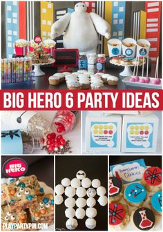 All sorts of fantastic Big Hero 6 party ideas including the easiest Baymax cupcake cake, awesome Fredzilla monster bars, and honey lemon cookies! Love everything about this Big Hero party from www.playpartypin.com