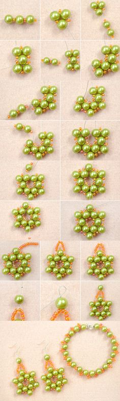 Tutorial on How to Make Olive Pearl Bead Jewelry with Orange Seed Beads at Home from LC.Pandahall.com