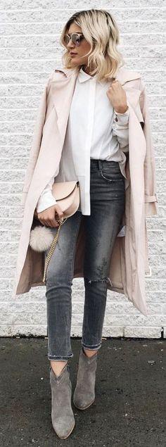 Blush pink + grey.