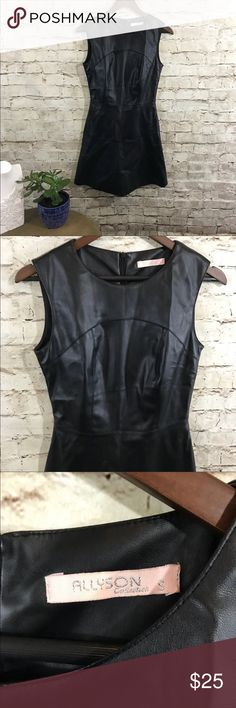 Alyson collection faux leather black mini dress Gorgeous vegan leather, fitted dress with Aline bottom and sleeveless top. Full zipper on the back. Size small alisson Dresses Mini
