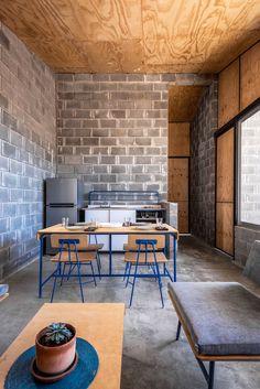 Minimal House Design, Masonry Construction, Mini Loft, Barn Renovation, Exposed Brick Walls, Narrow House, Kitchen Dinning, Building A New Home, Facade House