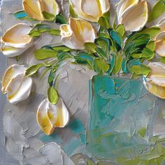 Original Painting Impasto White Tulips, Free Shipping USA Palette Knife Painting Flowers Canvas by Jan Ironside. $45.00, via Etsy.
