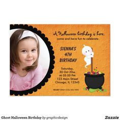#zazzle Sold this  #ghost #halloween #kids #birthday #invitations to CA. Thanks for you who purchased this. Check more at www.zazzle.com/graphicdesign/halloween