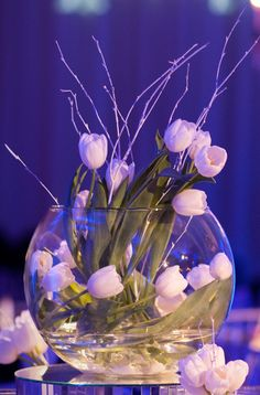White Dutch Tulips with White Birch Branches in a Glass Bowl {Design: TableArt}