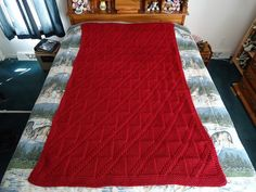 Claret Hand Knitted Diagonals and Triangles by CraftsbyCummins