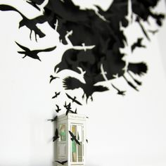 """The Birds - """" They tired of being caged . Nothing will ever be the same. It is the end of the world """"   Three dimensional paper artwork inspired in Alfred Hitchcock movie """"The Birds"""".  Limited Edition, 100 copies . Take it in www.thesmallestboy.com/en/shop"""