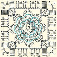 ideas crochet granny square pattern flower for 2019 Crochet Blocks, Granny Square Crochet Pattern, Crochet Diagram, Crochet Chart, Crochet Squares, Crochet Granny, Crochet Motif, Diy Crochet, Crochet Doilies