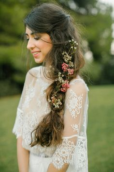 Side braid with flowers and berries. Stylist: Roula Stamatopoulou. Photography: Anna Roussos Photography - annaroussos.com