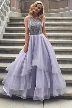Lavender Tulle Round Neck Lace A-line Long Prom Dresses,Long Evening Formal Dress,Women Dress,Evening Gowns Lilac Prom Dresses, Unique Prom Dresses, Sweet 16 Dresses, Sweet Dress, Ball Dresses, Pretty Dresses, Homecoming Dresses, Beautiful Dresses, Ball Gowns
