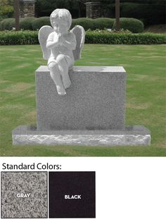 This Beautifully sculpted headstone of a fully carved Cherub Angel sitting on top of the headstone. Dimensions: 24″ X 10″ X 32″ headstone with a 36″ X 14″ X 8″ base (included). Your choice of two standard colors (Gray or Black), or can be purchased in other colors too.