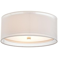 "A softer look with the outer shade - Double Drum White 18"" Wide Flushmount Ceiling Light"