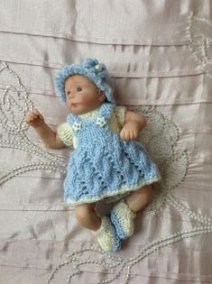 """Hand knitted dolls clothes to fit 6"""" Ooak baby girl doll"""