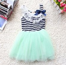 retail promotion hot selling baby girl sleeveless striped dress Mint Green white red color for 0-2 years old kids(China (Mainland))