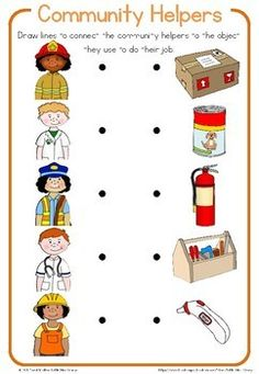 Community helper worksheets by Little Blue Orange Preschool Learning Activities, Preschool Worksheets, Infant Activities, Space Activities, Community Helpers Activities, Community Helpers Art, Community Workers, Science Education, Health Education