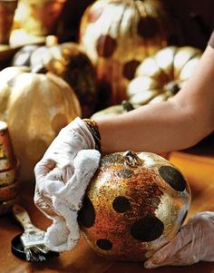 DIY Gold Pumpkin Decorations DIY Fall Crafts DIY Halloween Decor