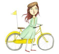 yellow bicycle giclee print.  merrilee liddiard