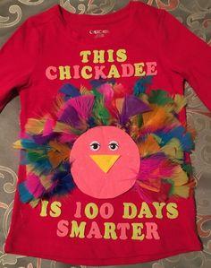 Day of School-This Chickadee is 100 Days Smarter! 10 feathers of 10 colors. 100 Day Of School Project, School Projects, Projects For Kids, Crafts For Kids, Project 100, School Spirit Days, 100 Days Of School, School Fun, School Ideas