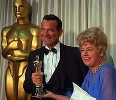 Tonight 4-10 in 1967 -- One of our fav funny men, Walter Matthau won his Oscar Best Supporting Actor statuette for his role in The Fortune Cookie.  Shelly Winters (shown here) presented Walter Matthau with his award.