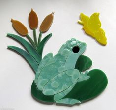 FROG LILY PAD Precut Stained Glass Art Kit Mosaic Inlay Pond Stepping Stone Tile