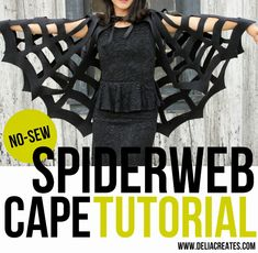 No-Sew Halloween Spiderweb Cape TUTORIAL - delia creates ~ DIY ~ fleece fabric – about 1 yard for a small child, 1 1/2-2 yards for an adult tailor's chalk or sidewalk chalk 1 yard of ribbon sharp fabric scissors ruler or measuring tape