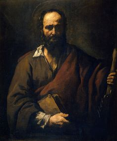 Simon Cananeus, Simon the Zealot / Ribera, Spanish interpretation. Simon was one of the most obscure among the apostles of Jesus. According to legend, he was hanged upside-down and put to death by a saw.