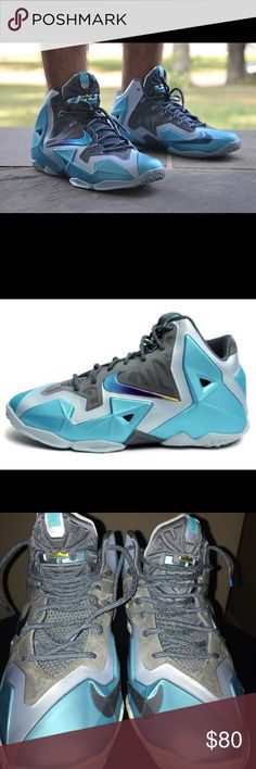 Nike Lebron XI (Gs) Basketball Armory Nike Lebron XI (Gs) Basketball Armory  Slate Gamma Blue Men s size 6 very clean one small mark shown in picture ... 995f65034