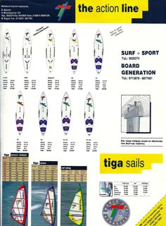 Tiga made undestructable windsurfboards... Only mine (i had the 250) showed craterholes underneath the footstraps after a year of bump'n'jump...  Tiga sailboards Greek ad 1992