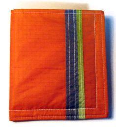 1aadf7a29 Men's Wallet, Slim Wallet, Recycled Paraglider , Orange Wallet, Thin Flat  Wallet, Orange Bi Fold, Backpackers Gear, Stripe Vegan Eco Wallet