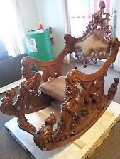 1800`S CARVED ANTIQUE WOOD ROCKING CHAIR,CHERUB,ANGELS,GODS,DEMONS,EXTREME